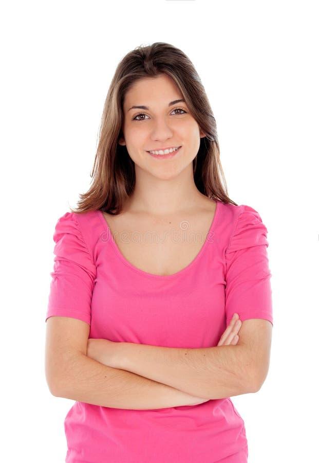 Toevallig jong meisje in roze stock afbeelding