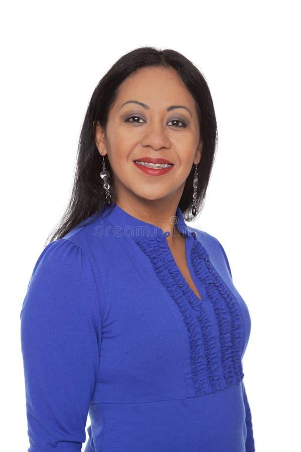 Toevallig Latina - het glimlachen tandsteunen royalty-vrije stock afbeeldingen