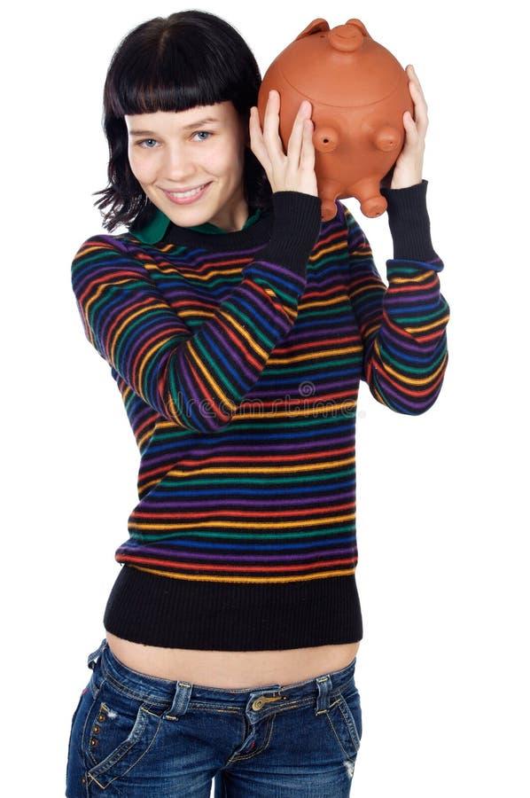 Toevallig meisje met spaarpot stock afbeelding