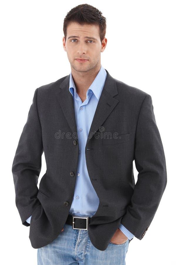 Toevallig portret van jonge zakenman royalty-vrije stock afbeelding