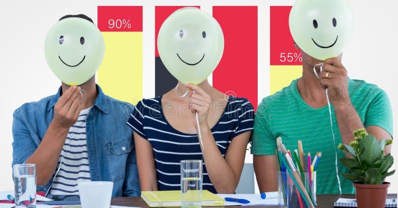 Toevallige bedrijfsmensen die ballon voor gezichten houden tegen grafiek vector illustratie