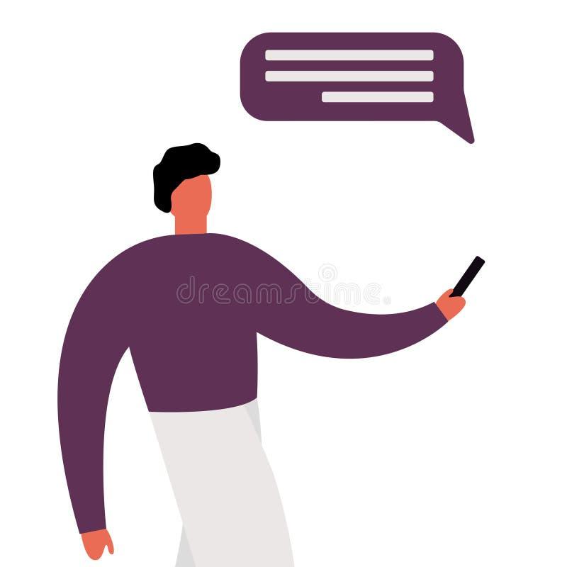 Toevallige beeldverhaalmens die en bij zijn mobiel telefoon en overseinen op een achtergrond van geometrische vormen bekijken hou stock illustratie