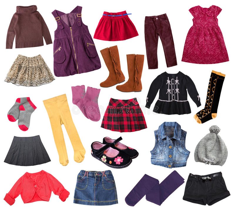 Toevallige de klerencollage van het kindmeisje De kledingscollage van het jonge geitje stock afbeeldingen