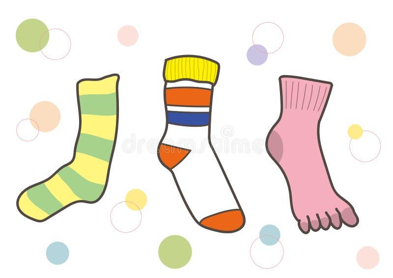 Toevallige die sokken met vijf vingerssokken worden geplaatst vector illustratie