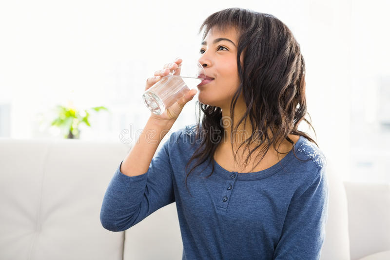 Toevallige glimlachende vrouw die wat water drinken stock fotografie