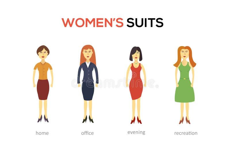 Toevallige vastgestelde karakters voor gebruik in ontwerp royalty-vrije illustratie