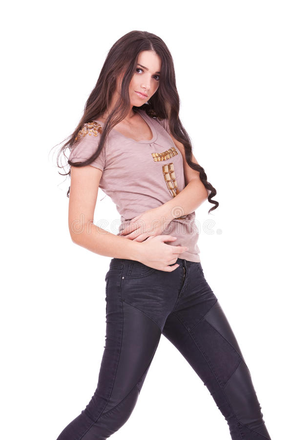 Toevallige vrouw in jeans met vrij lang haar stock fotografie