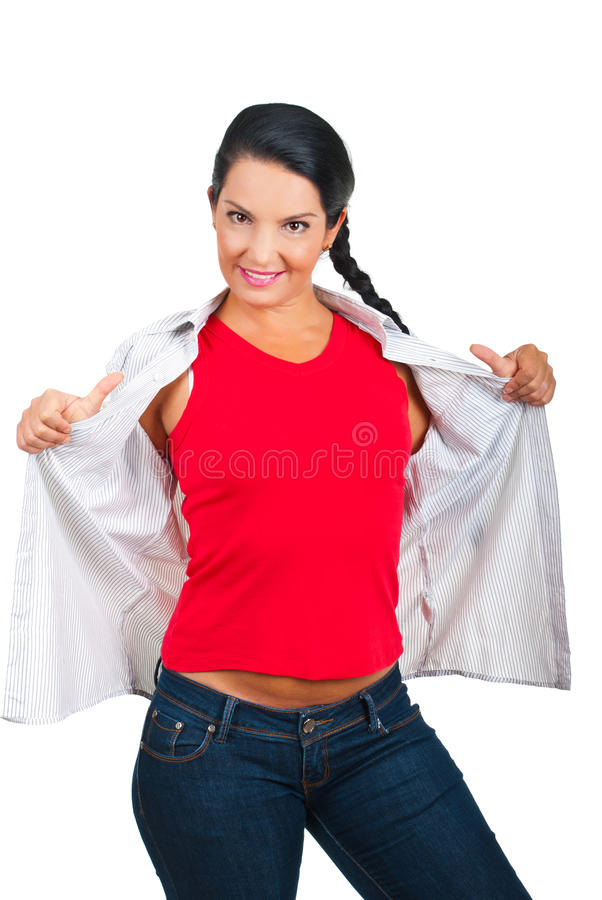 Toevallige vrouw in lege t-shirt stock foto's