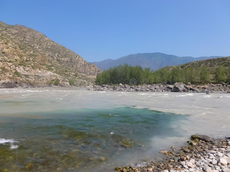 Toevloed van Chuya in Katun de rivier stock foto