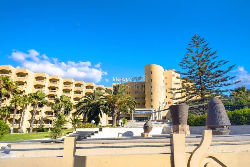 Toevluchthotel in kuststad Nabeul Tunesië, Noord-Afrika royalty-vrije stock fotografie