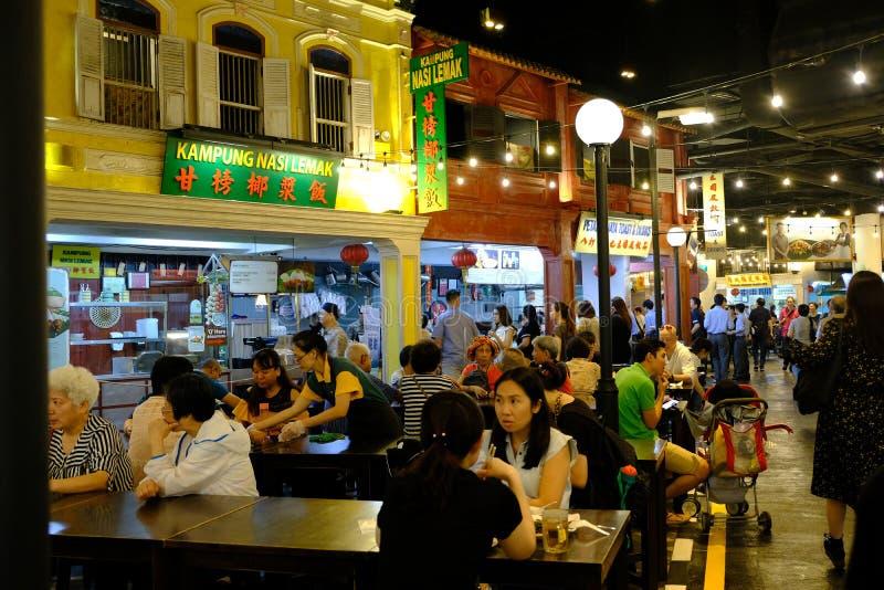 Toevluchtwereld Sentosa, Singapore - Maart 8, 2019: De Maleise Voedselstraat bepaalde de plaats van binnentoevluchtwereld Sentosa stock afbeeldingen