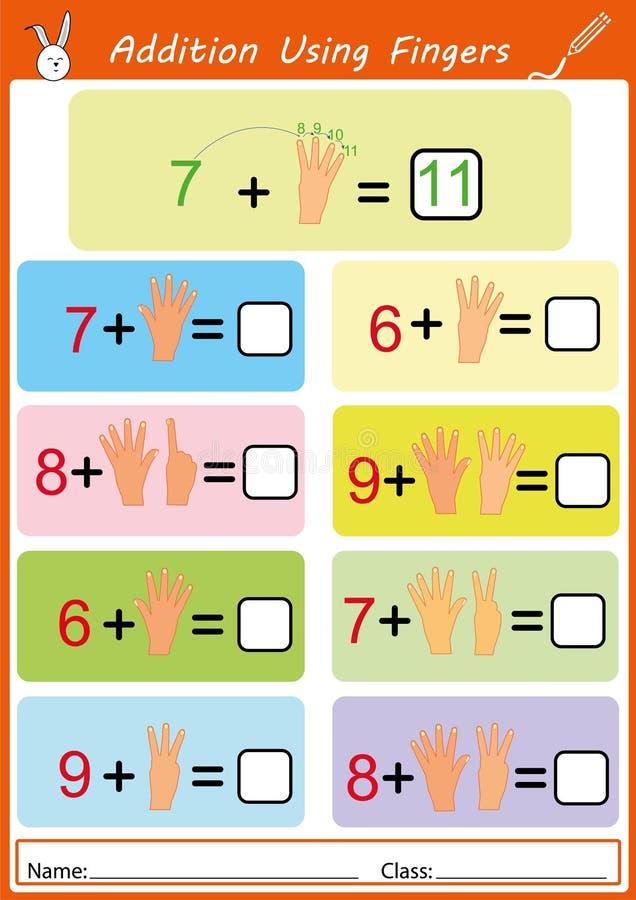 Toevoeging die vingers, wiskundeaantekenvel voor jonge geitjes gebruiken vector illustratie