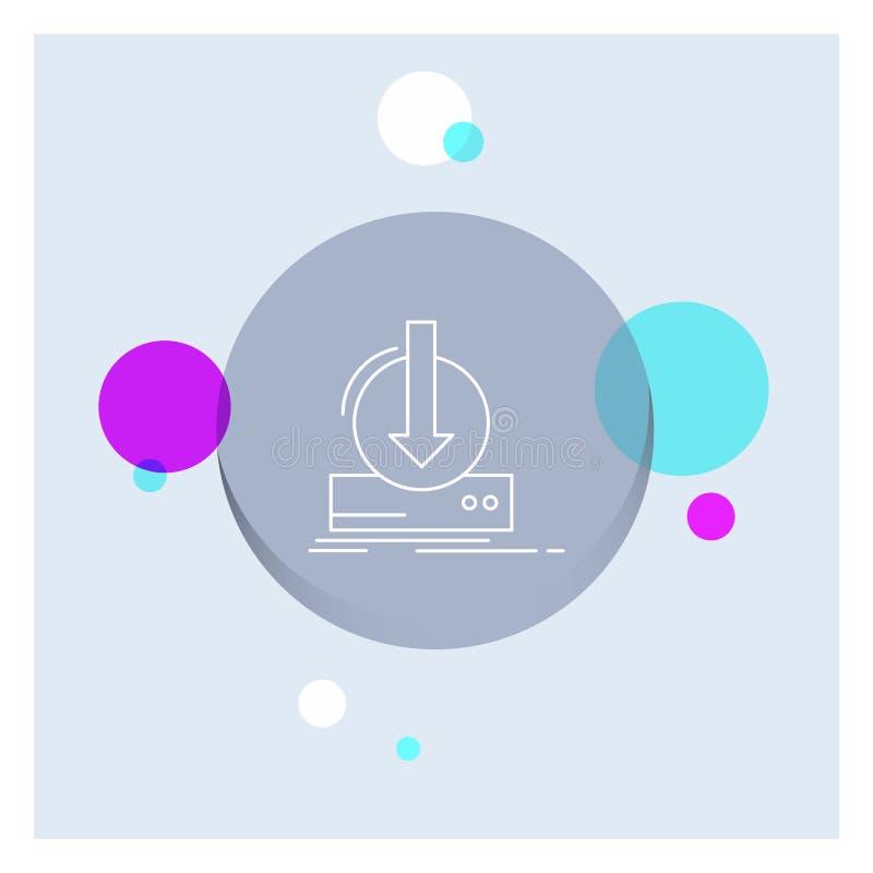Toevoeging, inhoud, dlc, download, Achtergrond van de het Pictogram kleurrijke Cirkel van de spel de Witte Lijn royalty-vrije illustratie