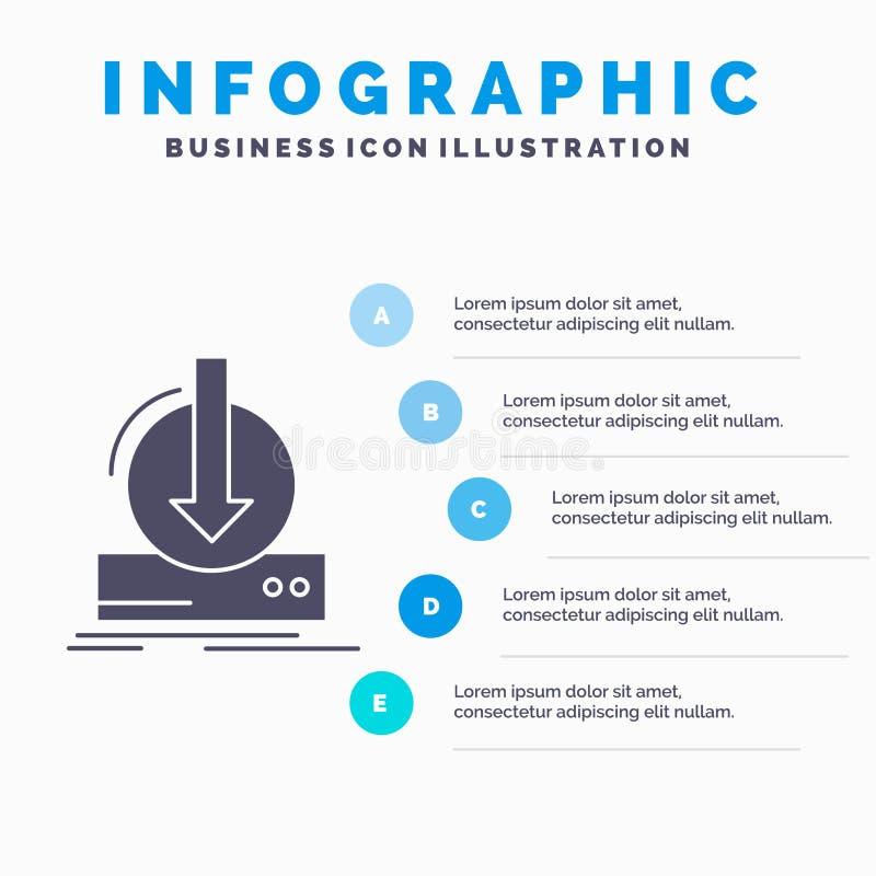 Toevoeging, inhoud, dlc, download, het Malplaatje van spelinfographics voor Website en Vorm GLyph Grijs pictogram met Blauwe info stock illustratie