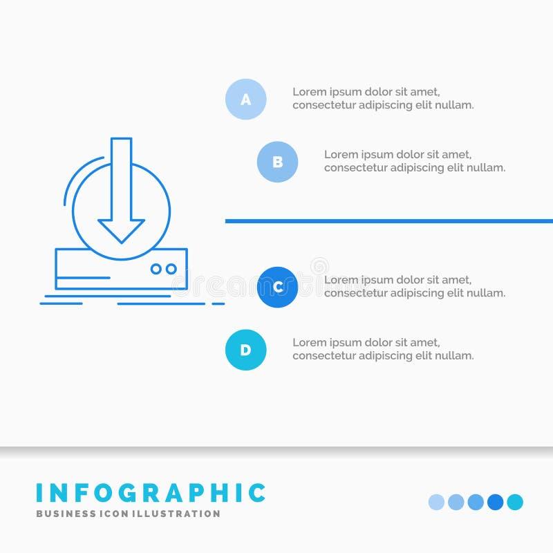 Toevoeging, inhoud, dlc, download, het Malplaatje van spelinfographics voor Website en Vorm Infographic de stijlvector van het li royalty-vrije illustratie