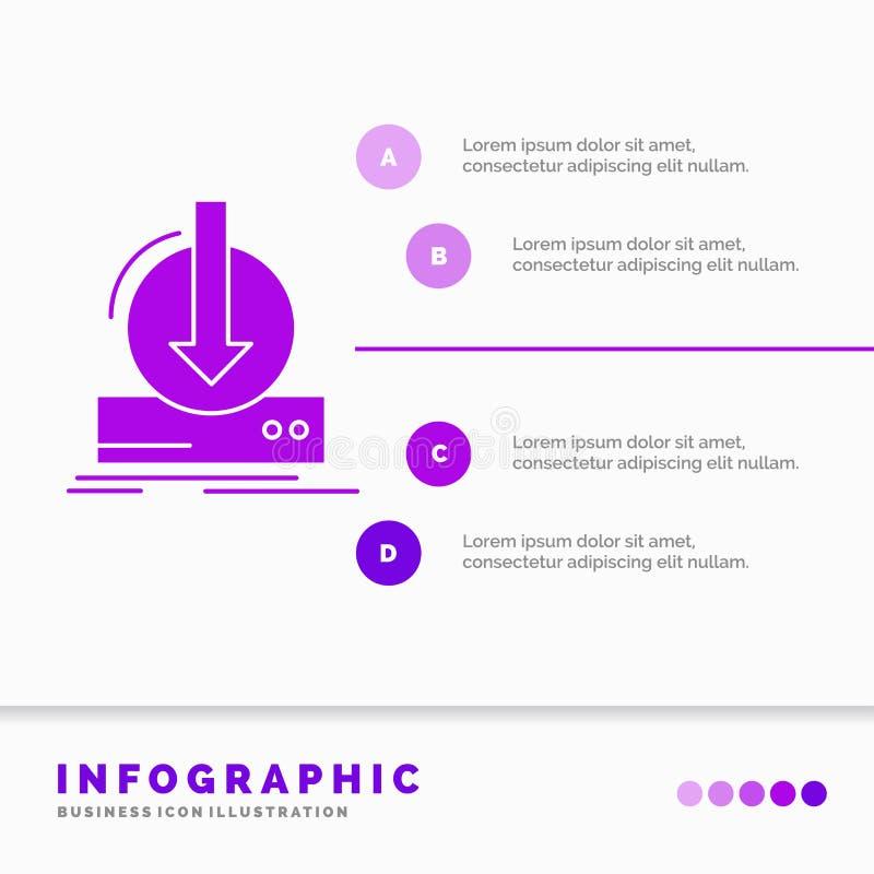 Toevoeging, inhoud, dlc, download, het Malplaatje van spelinfographics voor Website en Vorm Infographic stijl van het GLyph de Pu vector illustratie