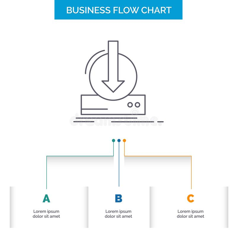 Toevoeging, inhoud, dlc, download, het Ontwerp spel van de Bedrijfsstroomgrafiek met 3 Stappen Lijnpictogram voor Presentatie Ach stock illustratie