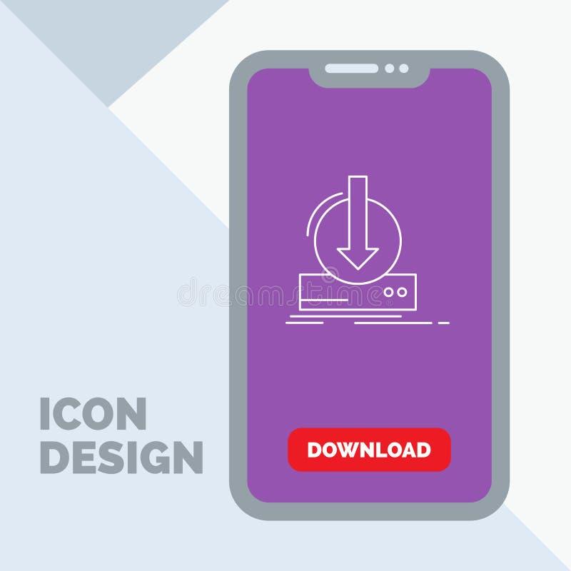 Toevoeging, inhoud, dlc, download, het Pictogram van de spellijn in Mobiel voor Downloadpagina vector illustratie