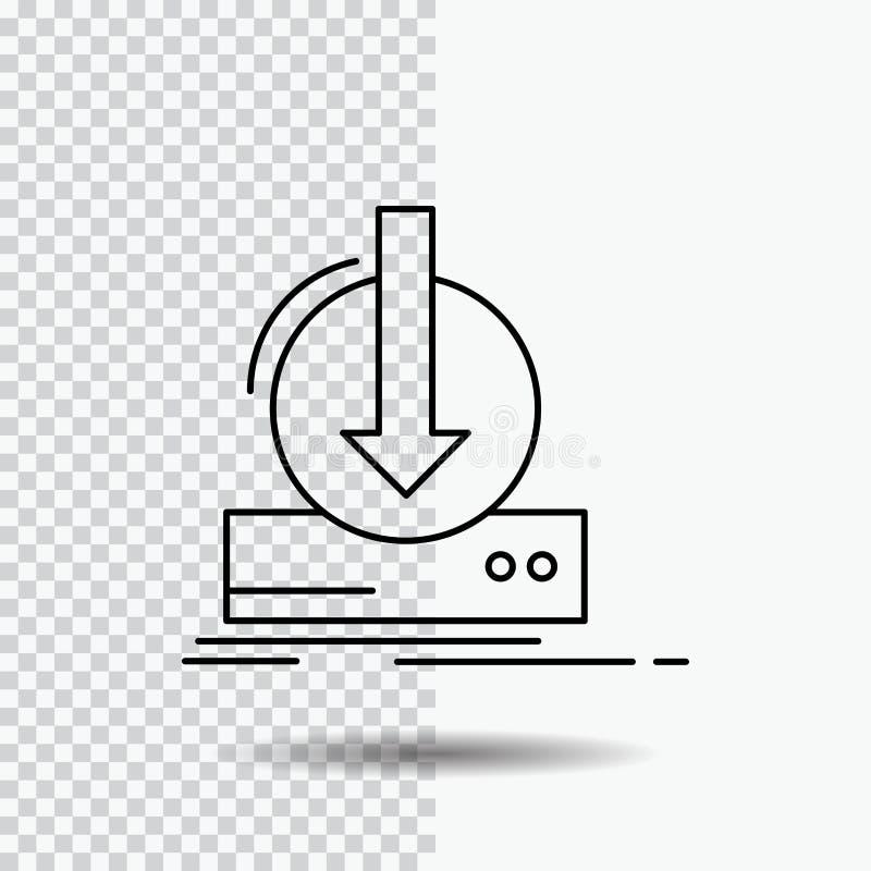 Toevoeging, inhoud, dlc, download, het Pictogram van de spellijn op Transparante Achtergrond Zwarte pictogram vectorillustratie royalty-vrije illustratie