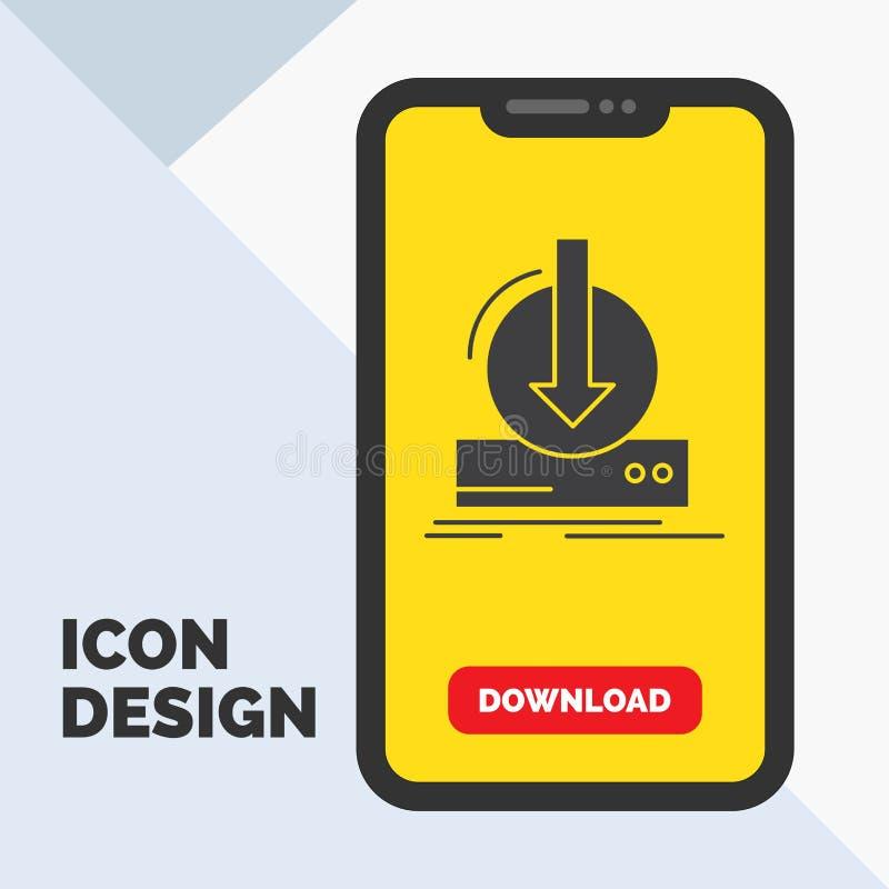 Toevoeging, inhoud, dlc, download, het Pictogram van spelglyph in Mobiel voor Downloadpagina Gele achtergrond stock illustratie