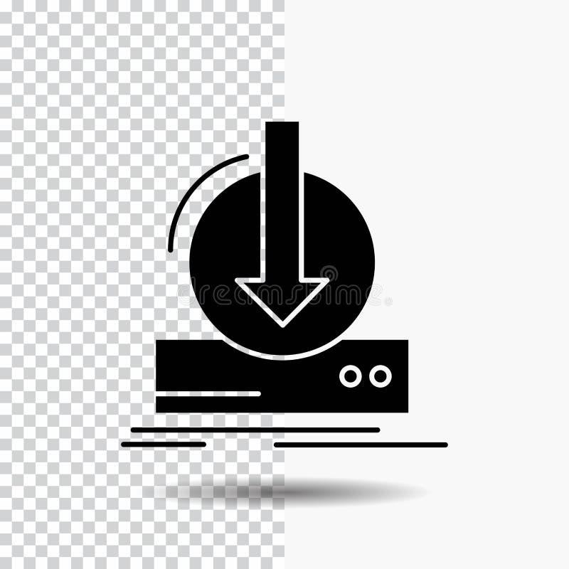 Toevoeging, inhoud, dlc, download, het Pictogram van spelglyph op Transparante Achtergrond Zwart pictogram stock illustratie