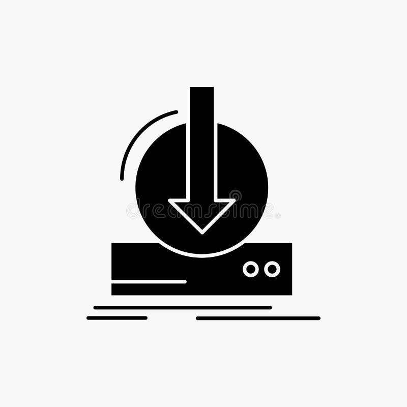 Toevoeging, inhoud, dlc, download, het Pictogram van spelglyph Vector ge?soleerde illustratie stock illustratie