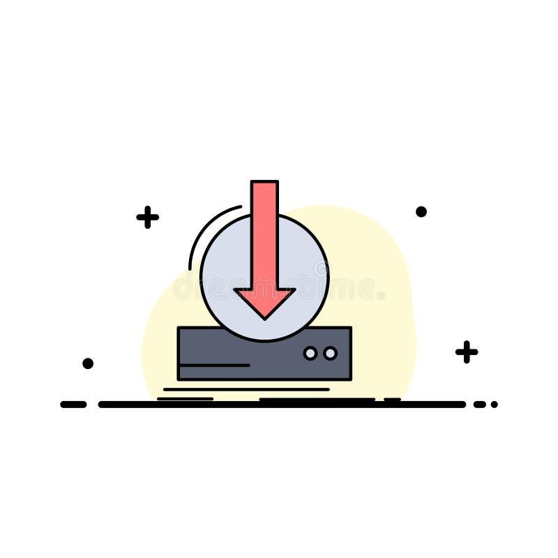 Toevoeging, inhoud, dlc, download, het Pictogramvector van de spel Vlakke Kleur stock illustratie