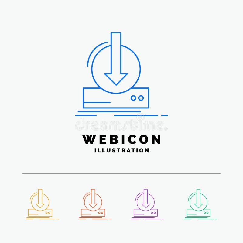 Toevoeging, inhoud, dlc, download, spel 5 het Pictogrammalplaatje van het Rassenbarrièreweb op wit wordt geïsoleerd dat Vector il stock illustratie