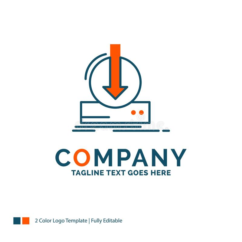 Toevoeging, inhoud, dlc, download, spel Logo Design Blauw en Ora royalty-vrije illustratie