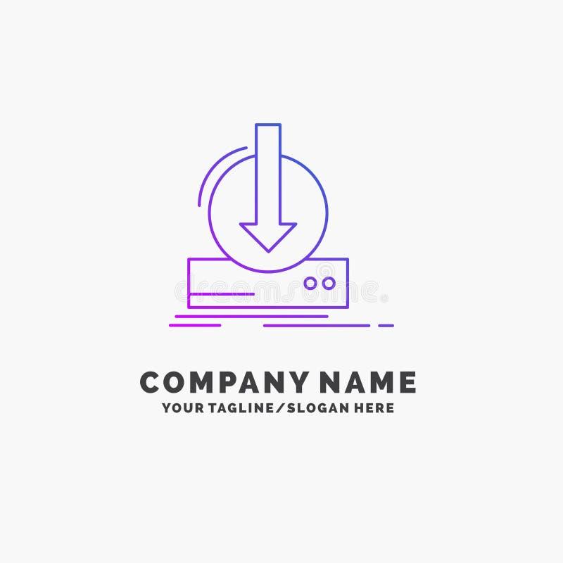 Toevoeging, inhoud, dlc, download, spel Purpere Zaken Logo Template Plaats voor Tagline vector illustratie
