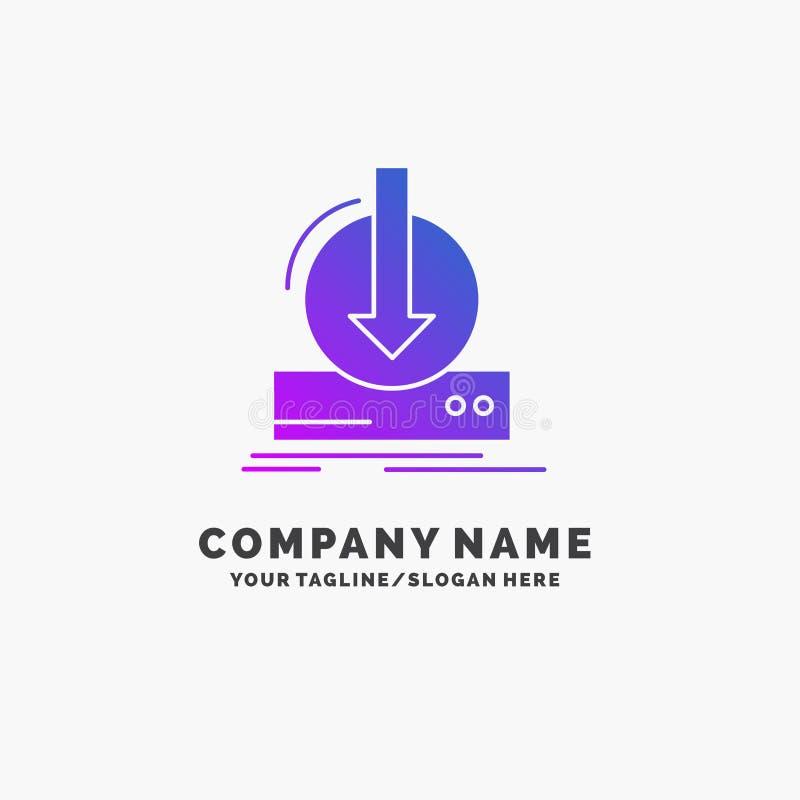 Toevoeging, inhoud, dlc, download, spel Purpere Zaken Logo Template Plaats voor Tagline stock illustratie
