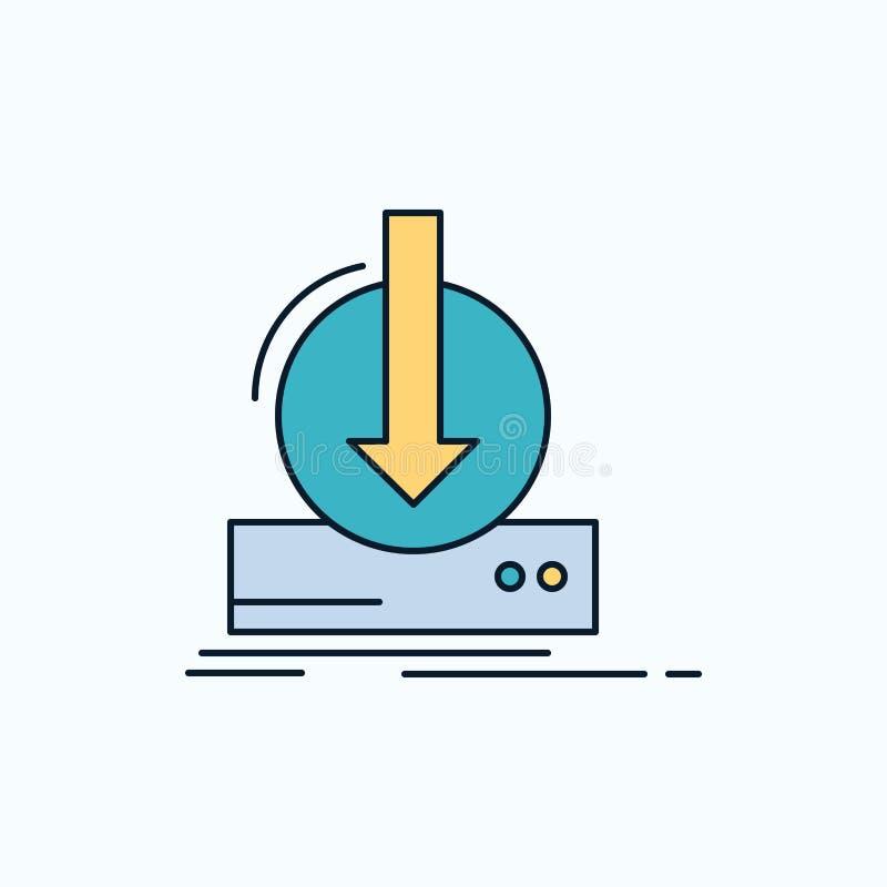 Toevoeging, inhoud, dlc, download, spel Vlak Pictogram groene en Gele teken en symbolen voor website en Mobiele appliation Vector stock illustratie