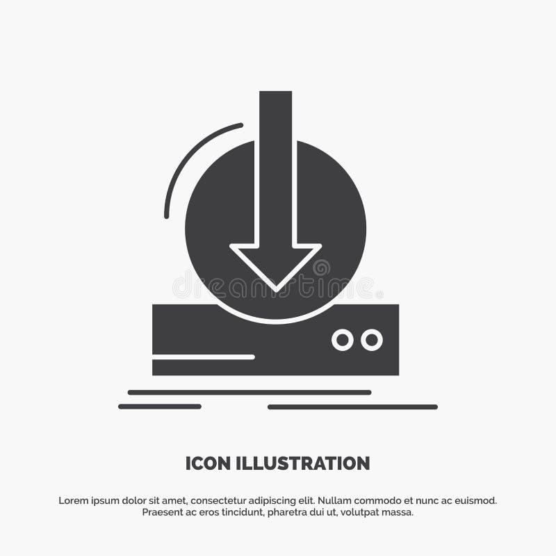 Toevoeging, inhoud, dlc, download, spelpictogram glyph vector grijs symbool voor UI en UX, website of mobiele toepassing royalty-vrije illustratie