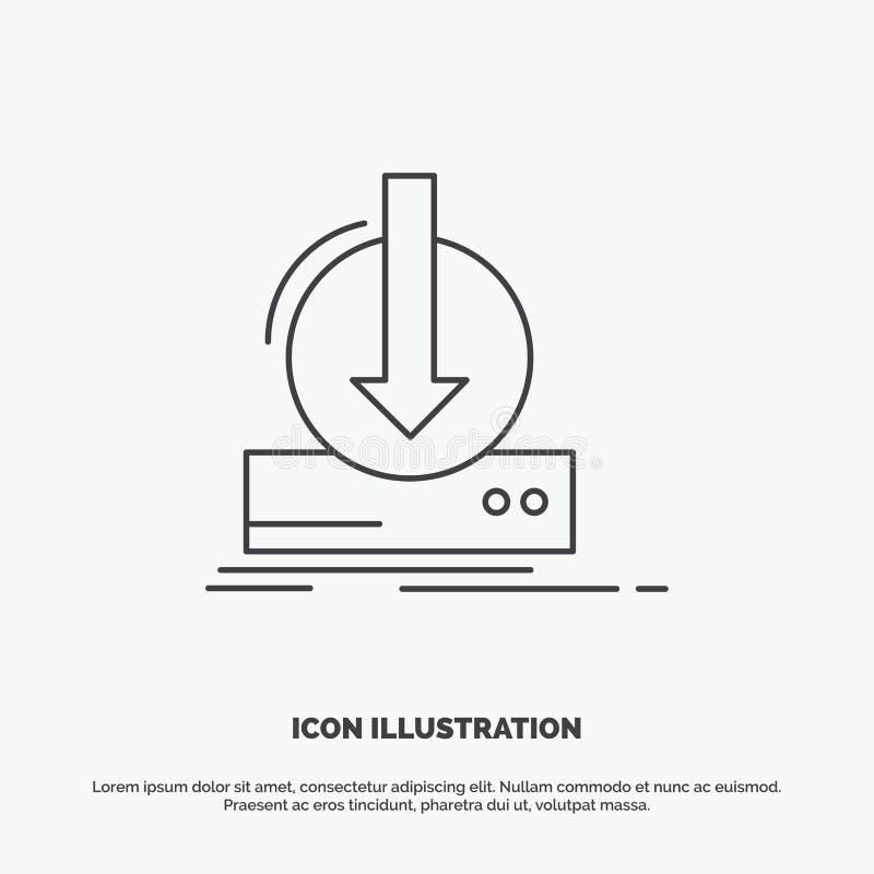 Toevoeging, inhoud, dlc, download, spelpictogram Lijn vector grijs symbool voor UI en UX, website of mobiele toepassing vector illustratie