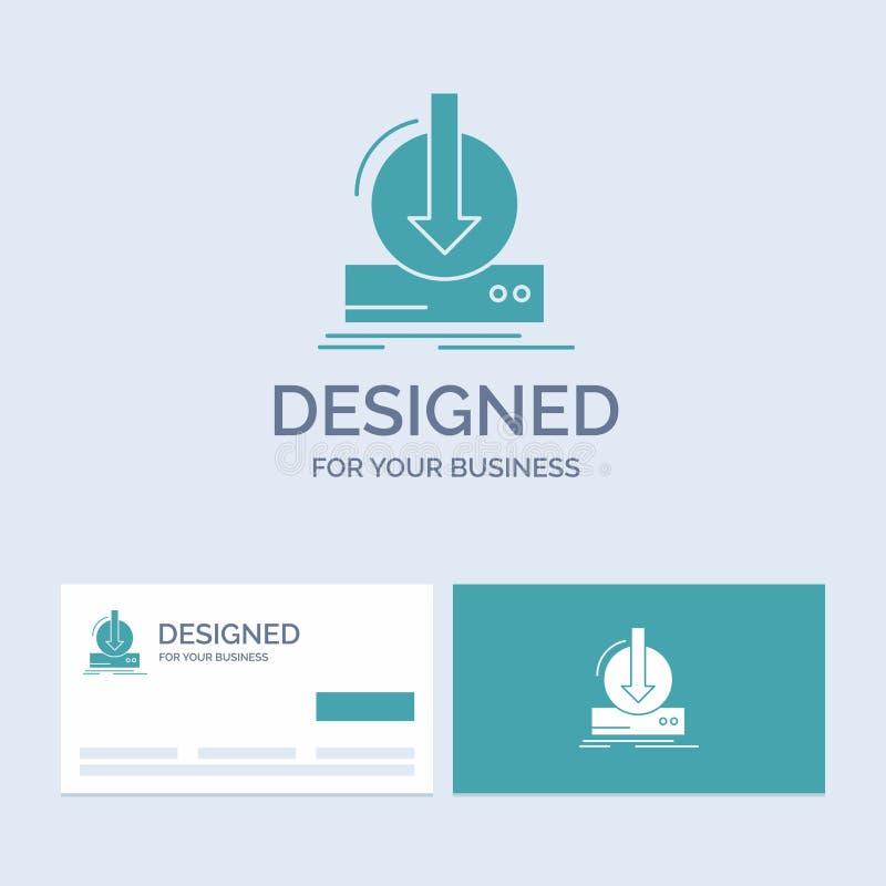 Toevoeging, inhoud, dlc, download, spelzaken Logo Glyph Icon Symbol voor uw zaken Turkooise Visitekaartjes met Merkembleem royalty-vrije illustratie