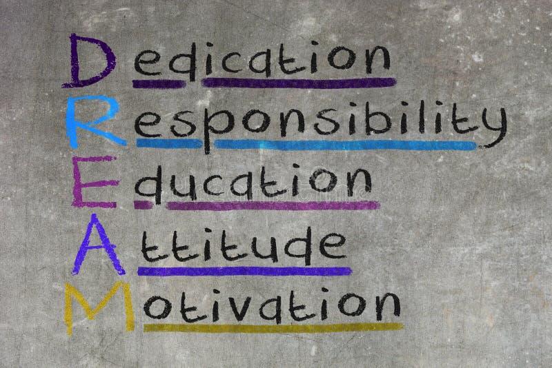 Toewijding, verantwoordelijkheid, onderwijs, houding, motivatie - DR. stock illustratie