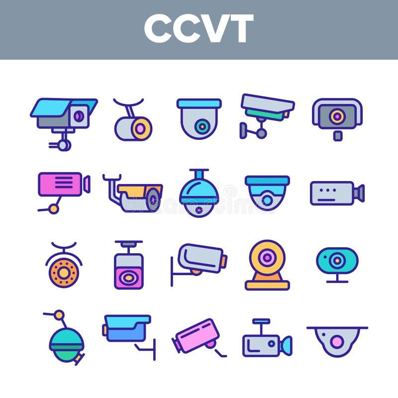 Toezichtcamera's, Lineaire de Pictogrammen Vectorreeks van kabeltelevisie stock illustratie