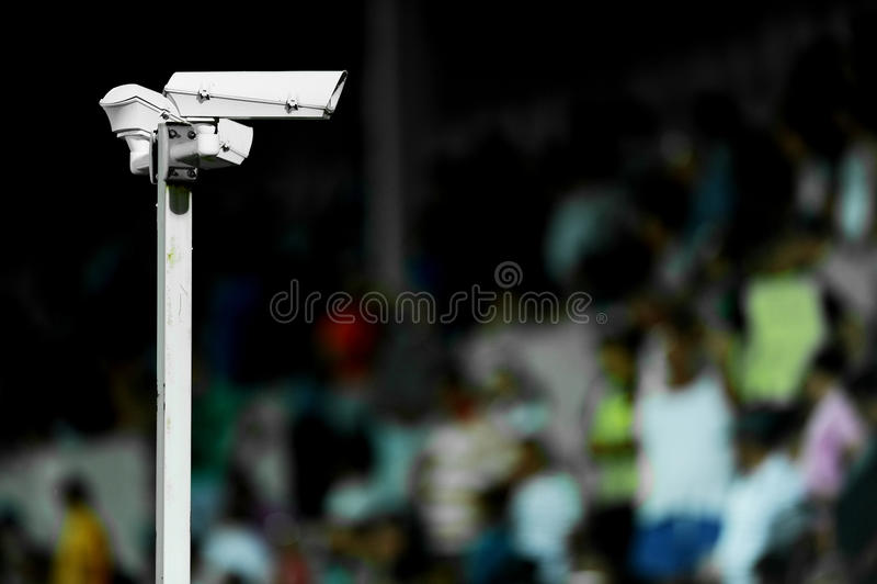 Toezichtcamera's op stadion royalty-vrije stock afbeelding