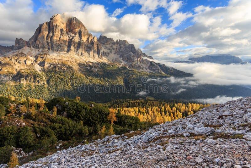 Tofana di Rozes - autumn in Passo Falzarego royalty free stock image