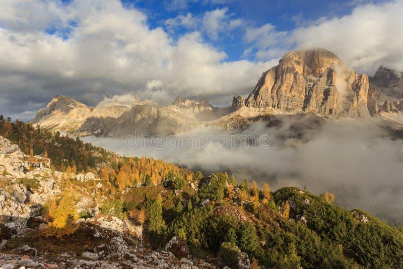 Tofana di Rozes and Laguzoi - autumn in Passo Falzarego stock images