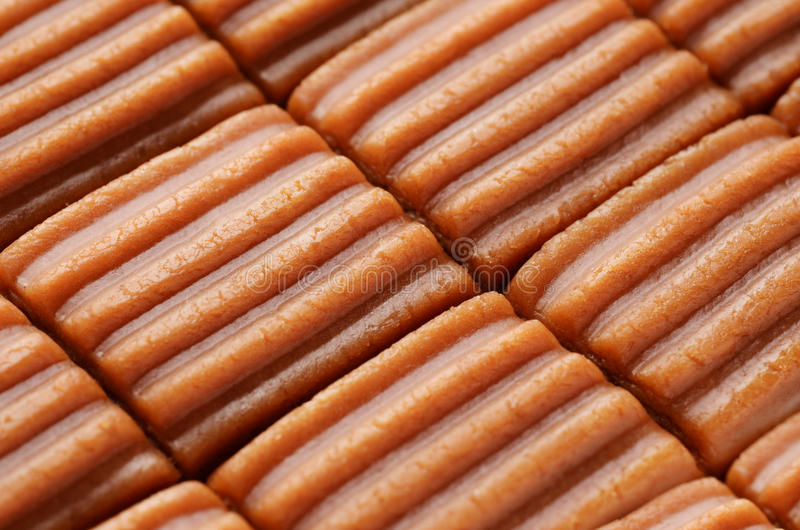 Toffee candy. In blocks extremly closeup stock images