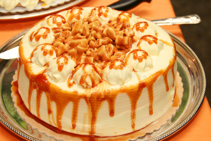 Toffee caramel cake. Sweet toffee caramel cake served as dessert stock photos