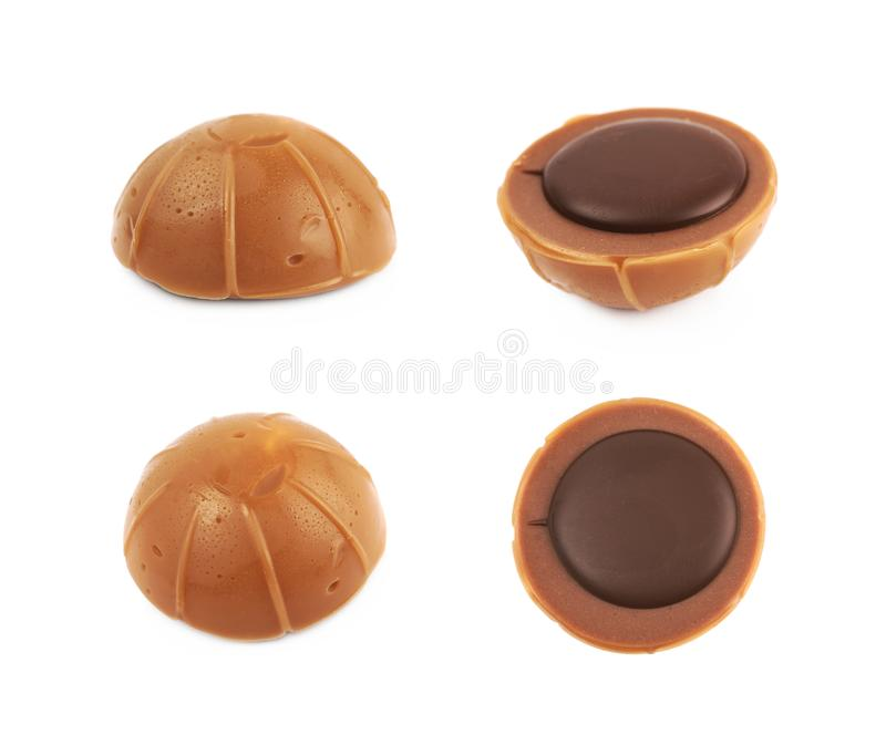 Toffee caramel chocolate candy isolated. Over the white background, set of four different foreshortenings royalty free stock photography