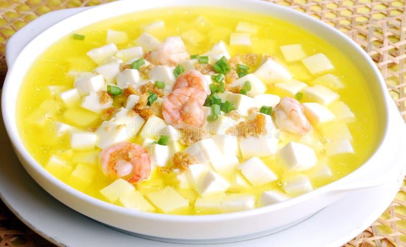 tofu супа шримса еды фарфора вкусный стоковое изображение