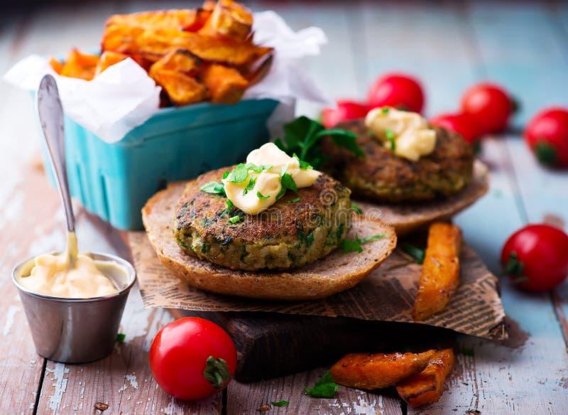 Tofu Burger with Sweet Potatoes. selective focus stock photography