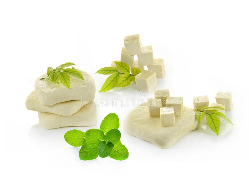 Tofu cheese on white background stock image
