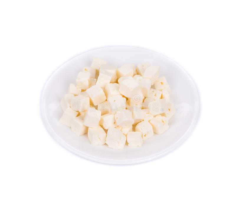 Tofu cheese on white plate. royalty free stock photography