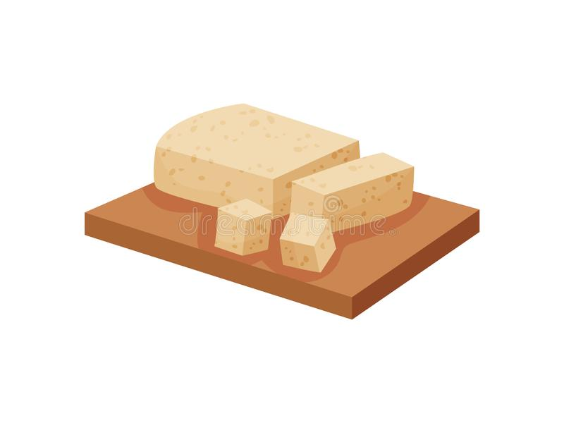 Tofu on cutting board on white background. vector illustration