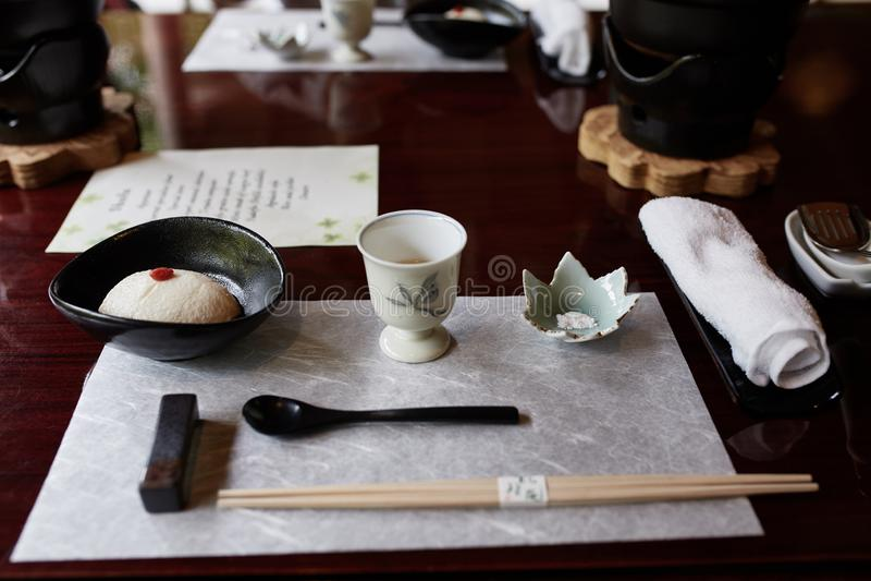 Tofu de cursus van Kaiseki in Kyoto, Japan stock afbeelding