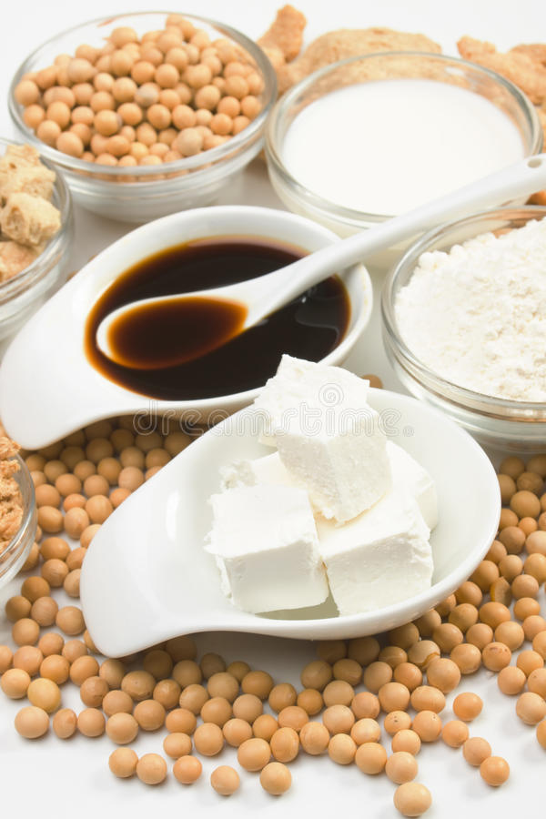 Tofu ed altri prodotti della soia fotografie stock